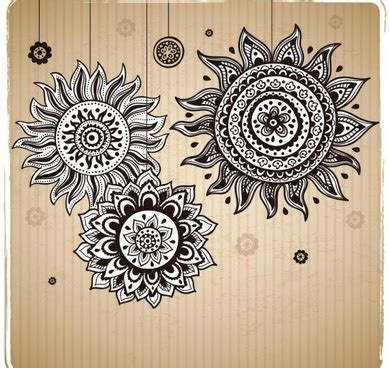 sunflower pattern coreldraw vintage flower pattern background vector art free vector