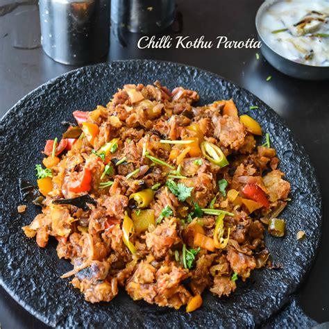 Dinner Egg Recipes chilli kothu parotta curried shredded indian flatbread