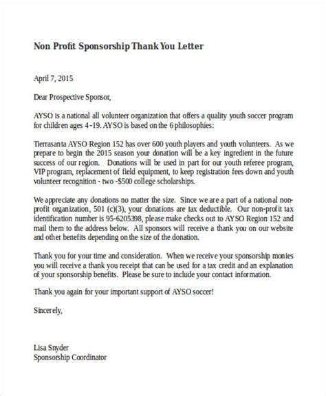 Thank You Letter Template Non Profit 69 Thank You Letter Exles