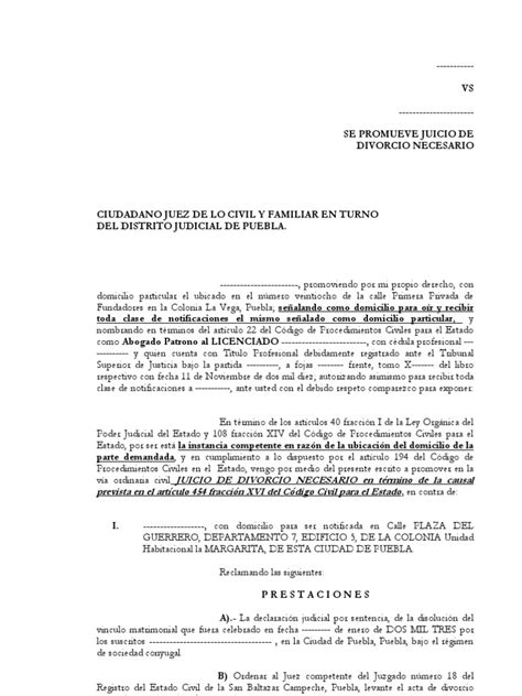 demanda de divorcio necesario sobre la causal de abandono divorcio necesario causal separacion por mas de dos a 241 os