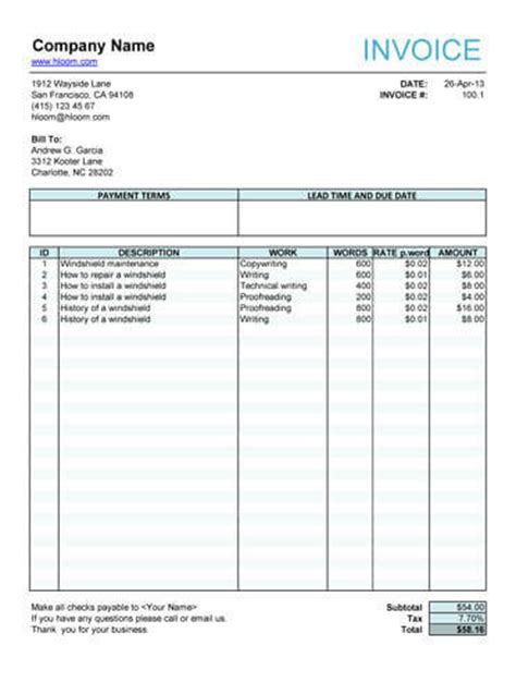 writing invoice template freelance invoice templates in word and excel for free