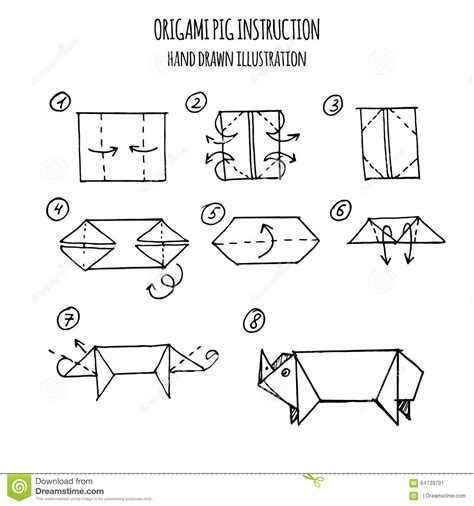 3d Origami Step By Step Illustrations - illustration step by step of pig origami stock