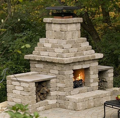 concrete block outdoor fireplace plans