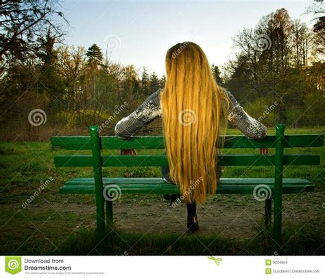 back of bench back of woman sitting alone on park bench stock photo image of beautiful hair 9204854