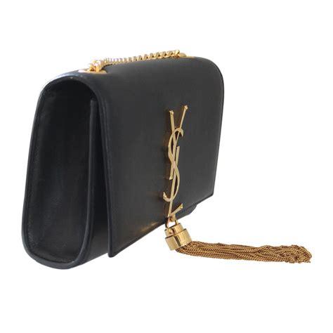 saint laurent classic kate black leather tassel satchel ghw