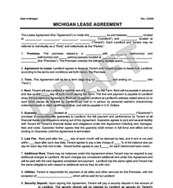 Michigan Residential Lease Rental Agreement Create Download Rental Agreement Template Michigan
