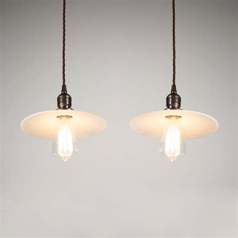 Milk Glass Pendant Light Fixtures Two Matching Antique Industrial Pendant Lights With Milk Glass Shades C 1905 Nc1427 Rw For