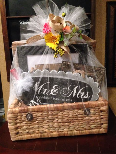 wedding gift basket filed with personalized gifts made