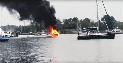explosion on a boat boat explosion in solomons injures one man tows engulfed
