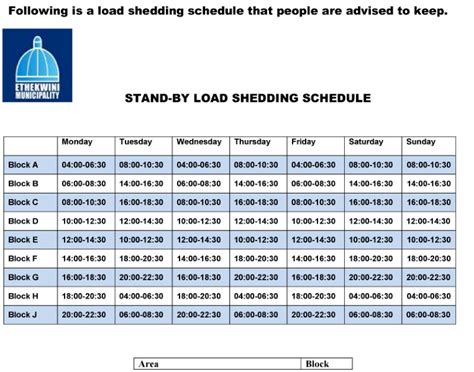 Ethekwini Municipality Load Shedding Schedule by Load Shedding Schedule Keep South Coast Sun