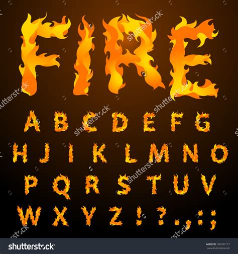 Fire Pattern Font | flames clipart flame letter pencil and in color flames