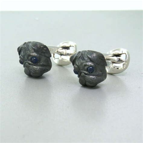 pug cufflinks deakin and francis sterling silver pug cufflinks for sale at 1stdibs