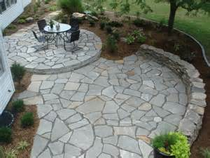 Slate Patio Designs With Flagstone Paver Patio Designs With Large Clay Pots Above Slate Retaining Wall