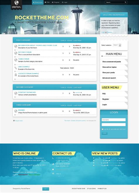 phpbb forum templates alerion phpbb style premium phpbb3 theme from rockettheme