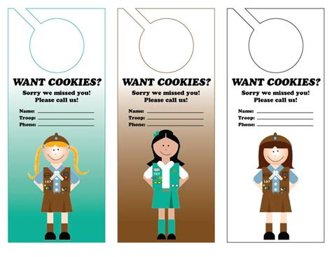 379 Best Girl Scout Cookie Images On Pinterest Daisy Scouts Brownie Girl Scouts And Girl Scout Door Hanger Template