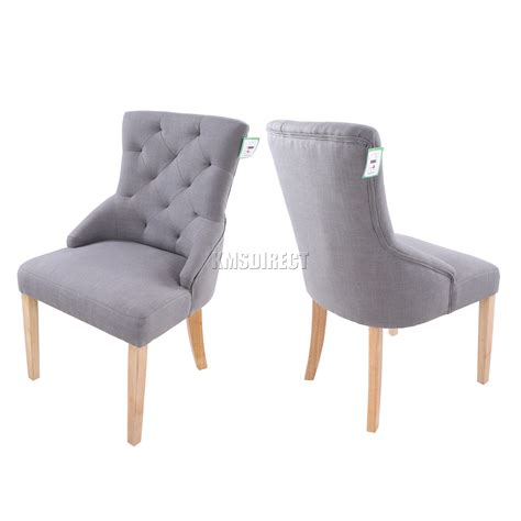 Foxhunter New Grey Linen Fabric Dining Chairs Scoop Tufted Fabric Dining Room Chairs Uk