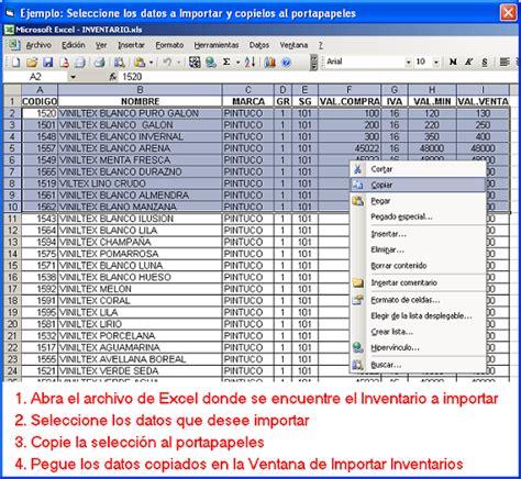 control de inventario en excel inventarios kardex tauro como importar inventarios desde