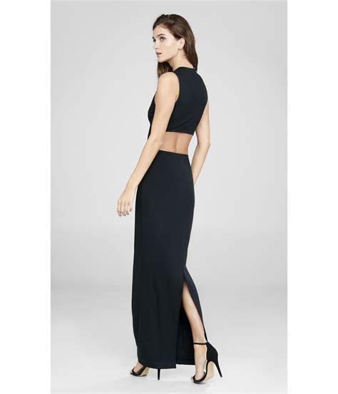 lyst express black v neck cut out sleeveless maxi dress in black