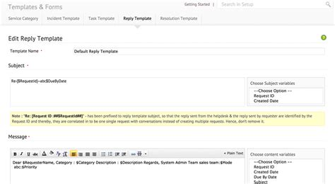 support email response template custom forms help desk manageengine servicedesk plus on