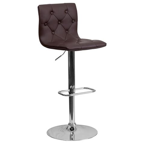 cushioned bar stool flash furniture adjustable height brown cushioned bar