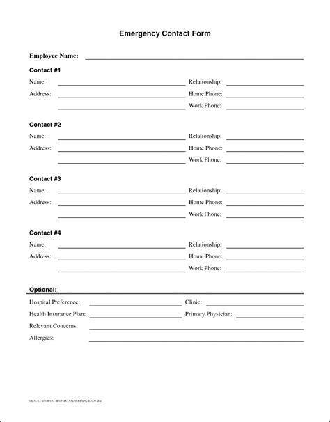 Telephone Contact List Templat Ideasplataforma Com In Of Emergency Form Template