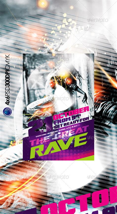 modern rave music party flyer template by prowebmedia