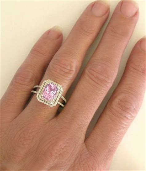 light pink sapphire engagement rings rare 2 carat radiant cut light pink sapphire and double