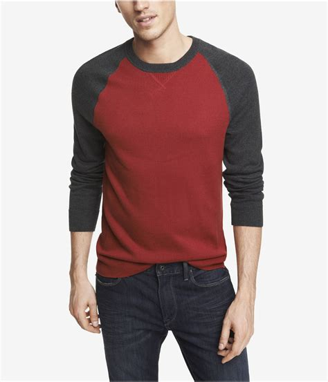 Sweater Baseball express cotton baseball sweater in for harvard lyst