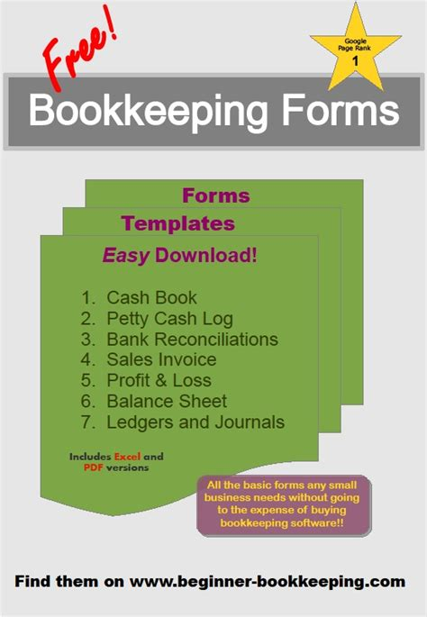 Free Bookkeeping Forms And Accounting Templates Printable Pdf Free Bookkeeping Templates