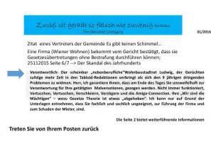 Beschwerdebrief Reparatur Der Dreck Die Kriminellen Aktivit 228 Ten Quot Wiener Wohnen Quot