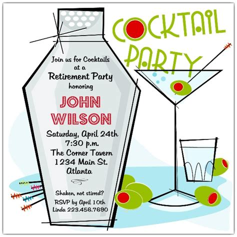 retro martini cocktail party invitations paperstyle