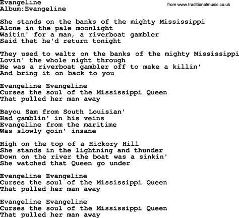 Evangeline Also Search For Emmylou Harris Song Evangeline Lyrics