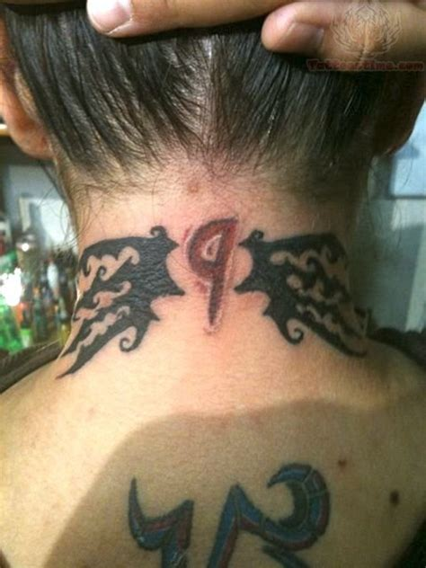 number tattoo on neck 9 number tattoo on back neck