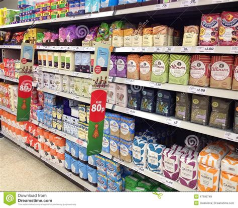 What Store Sells On The Shelf by Bags Of Flour On A Superstore Shelf Editorial Stock Image