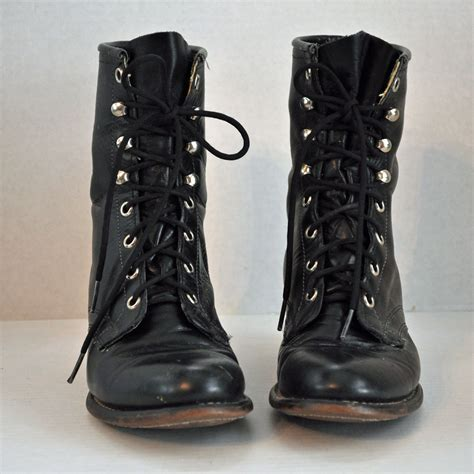 80s vintage lace up ankle boots distressed by