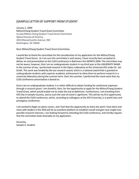 travel grant application letter