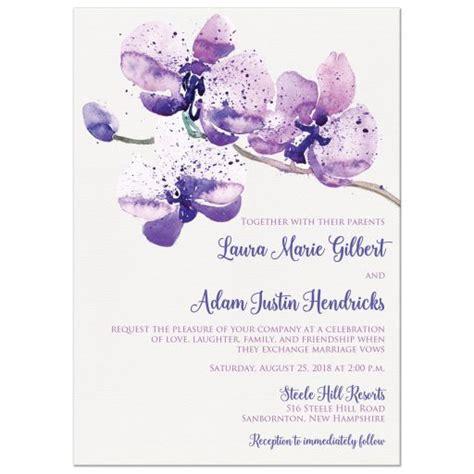 wedding invitations with purple roses pretty purple pink watercolor orchid wedding invitation