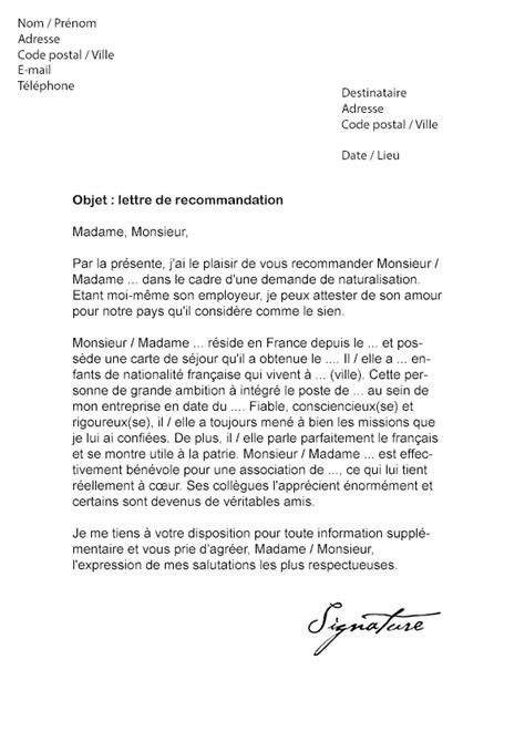 lettre de recommandation pour une naturalisation modele