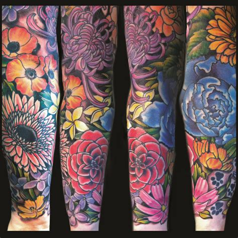 floral tattoo sleeve tattoos lawson artist i the bright colors
