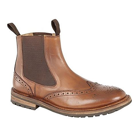 woodland mens brogue design gusset dealer boots