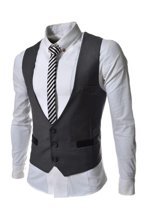 Jas Rompi Mens Gray Three Button Suit Vests Waistcoat Korean