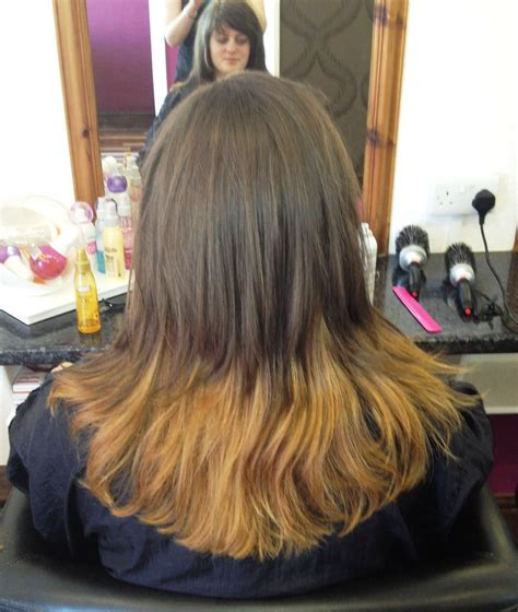 dip dye hairstyles brown and blonde eclips blonde and red colour
