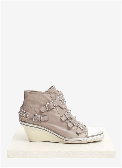 stud wedge sneakers ash gwen studded leather wedge sneakers in gray neutral