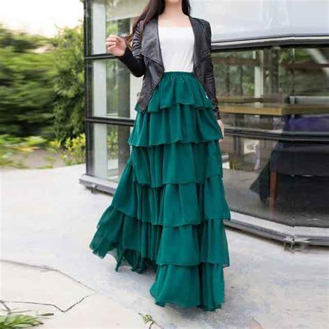 green ruffle long skirt style fashioneven