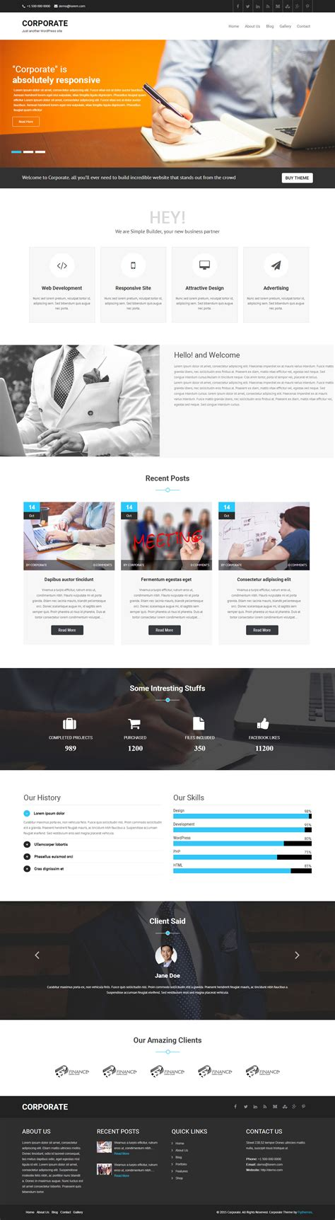 corporate wordpress theme for business and services