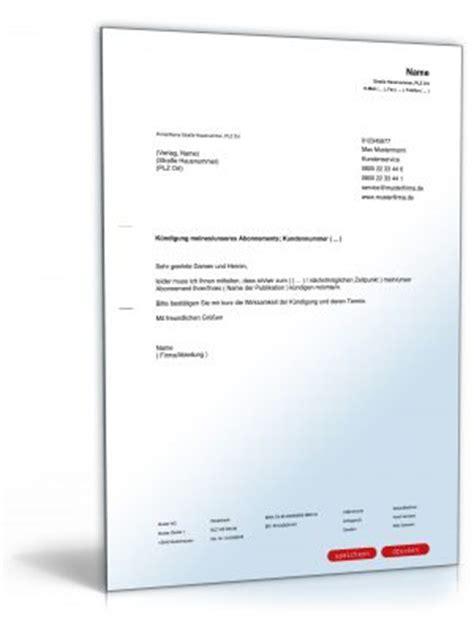 Abonnement K Ndigen Brief mustervorlagen f 252 r k 252 ndigungen zum
