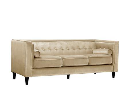 velvet button tufted sofa brycen contemporary beige velvet sofa with button tufted