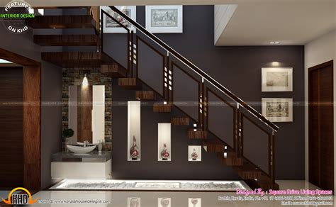 kerala home design staircase interior designs of master bedroom living kitchen and
