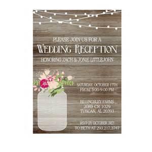 rustic wedding reception invitation with lights jar