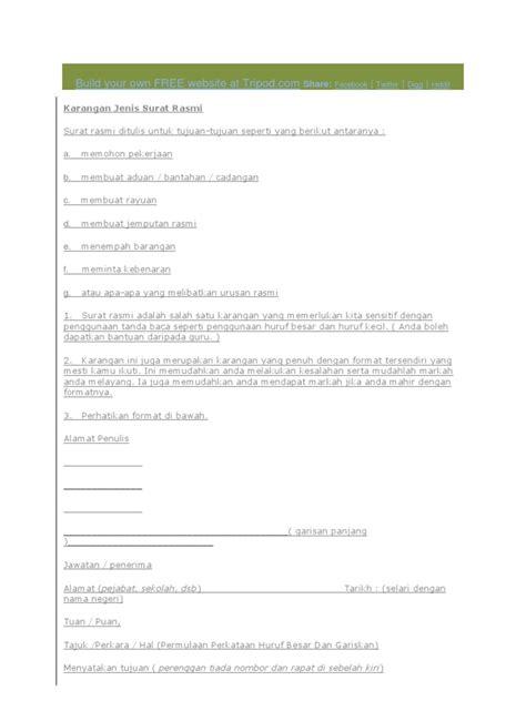 format surat rayuan rasmi